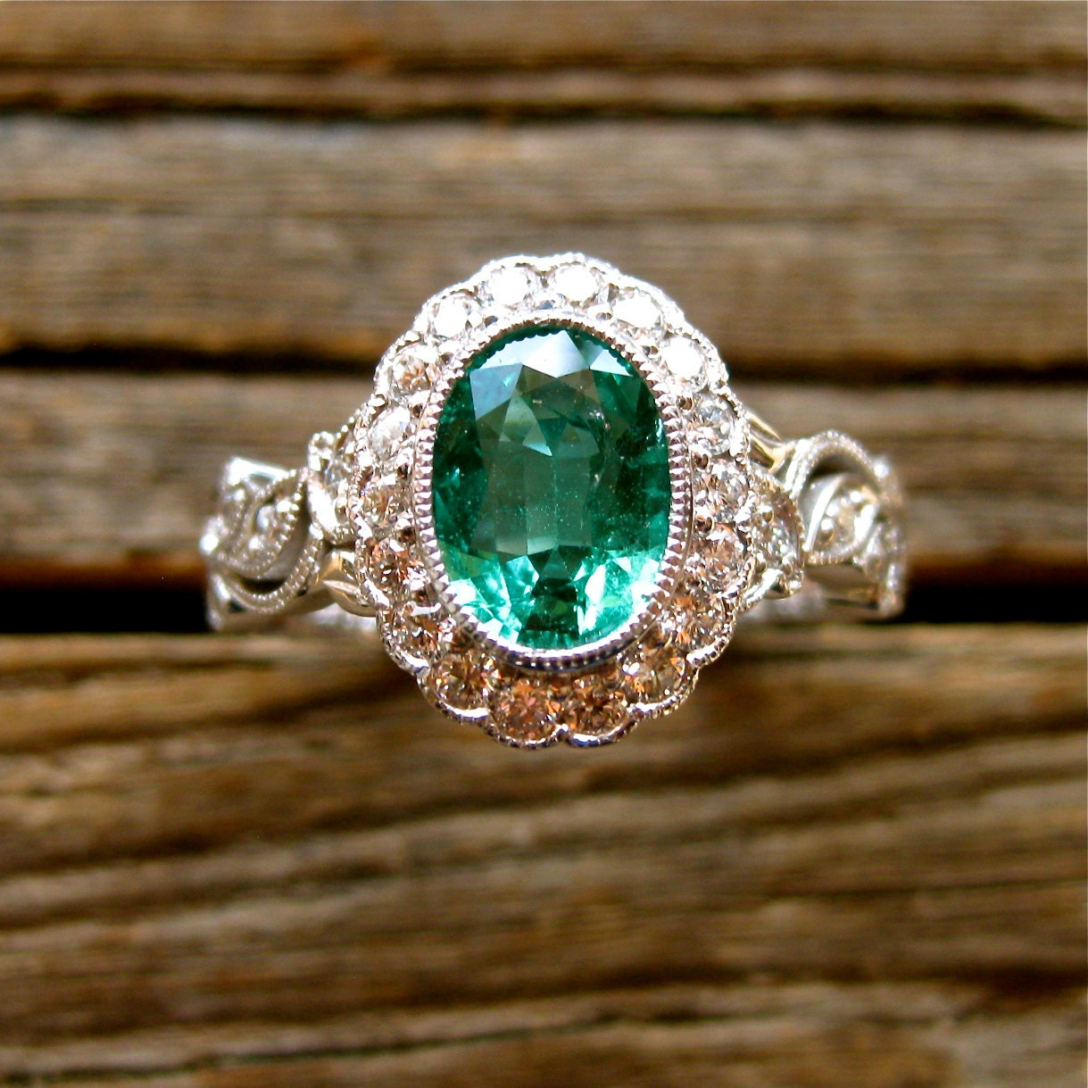 Oval green emerald engagement ring in 14k white gold with for Emerald green wedding ring