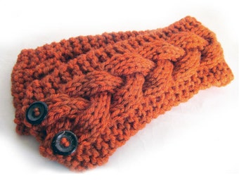Hand Knit Headband, Celtic Braided Cable, Vegan Washable Yarn, Orange Spice, Coconut Buttons