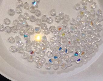 Clear AB Aurora Borealis SWAROVSKI 4mm and 6mm Crystal Bicone Beads (10 grams)