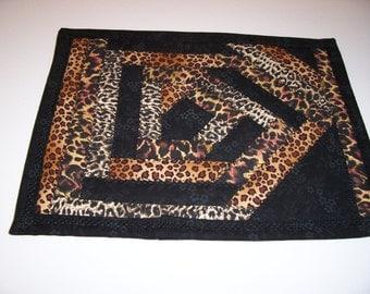 Leopard print mug rug
