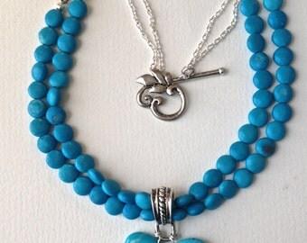 Chunky Turquoise Stone Multi Strand Pendant Necklace, Turquoise Pendant