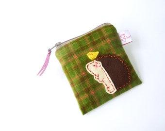 Coin Purse, Hedgehog Pouch, Coin Purse Plaid, Hedgehog Purse, Pouch, Zipper Coin Purse, Zipper Wallet - Cute Gift - Hedgehog