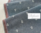 Nautical Marine, Chic White Geometric Anchor On Dark Denim Blue- Japanese Cotton Fabric (Fat Quarter)
