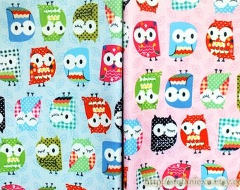 SALE Clearance Waterproof Nylon PVC Fabric-Lovely Geometry Floral Dots Check Tulip Floral Baby Hoot Owl, Choose Color (Fat Quarter)