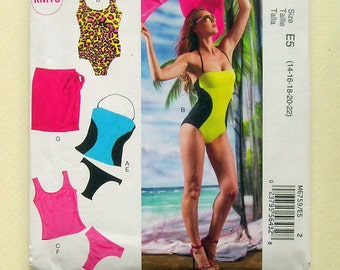Ladies' Bathing Suits, Bikinis, and Sarong - McCalls 6759 - Out of Print Sewing Pattern, Sizes 14, 16, 18, 20, 22
