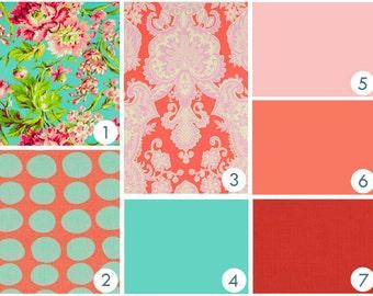 Baby Bedding - Vintage Flowers Custom Crib Bedding - Coral, Pink, Aqua, Lime Green