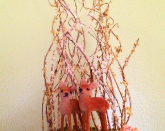 Flowers and Whimsy, 5 inch Vintage Deer Cake Topper