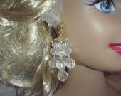 Vintage Earrings Crystal Clear Light Plastic Beads Chandelier for Young Women