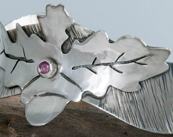 Oak Leaf Bracelet, Eco Friendly Sterling Silver Cuff, Dark Pink Garnet Cuff