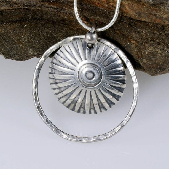 Sunburst Necklace, Sterling Silver Pendant, Eco Friendly Silver Jewellery