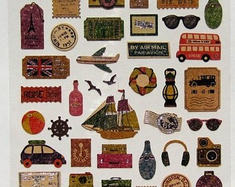 Travel Stickers Planner Vintage Style