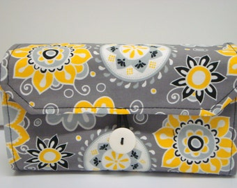Cash Envelope Wallet  / Dave Ramsey System / ZIPPER Envelopes - Sunshine Floral