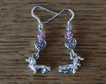Dog Charm Earrings- Pewter Dachshund  with Rose Crystal Bead