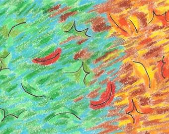 Changing Seasons, digital print, seasons, fall, leaves, blue, green, yellow, red