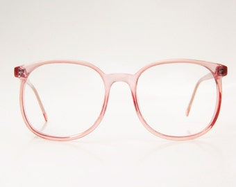 Vintage Pink Oversized Eyeglasses Round Wayfarer Sunglasses 1970s Hipster Chic Watermelon Pastel Crystal Clear 70s Indie Avant Garde