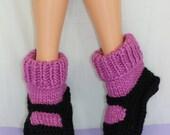 Instant Digital File pdf download knitting pattern - Adult Superfast Rib Cuff Sock Slippers