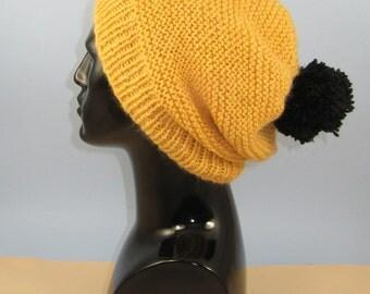 Instant Digital File pdf download knitting pattern - Chunky Garter Stitch Big Bobble Slouch Hat pdf download knitting pattern.