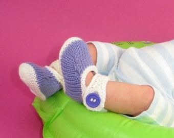 Instant Digital pdf download knitting pattern- Baby Kinky 2 Colour Big Ankle Strap Sandals knitting pattern pdf download by madmonkeyknits