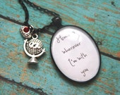 Home Is Wherever I'm With You Inspirational Glass Pendant Charm Necklace by OutonaLimbStudio on Etsy