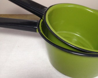 Vintage Green Enamel Pan Set Saucepan Metal 1970s Pot