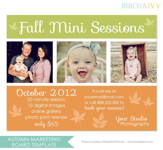 Fall Photography Marketing Board Template for Mini Sessions - INSTANT DOWNLOAD
