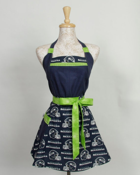 Team Apron, NFL football Seattle Seahawks Navy and Lime Green