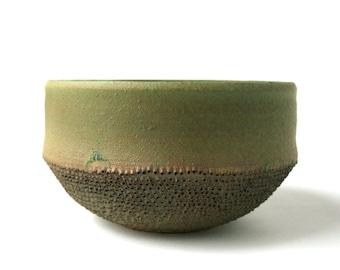 Pierced Contemporary Stoneware Bowl - Alligator Green Texture