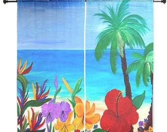 Tropical beach shear curtains