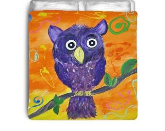 Purple Owl Comforters from my art