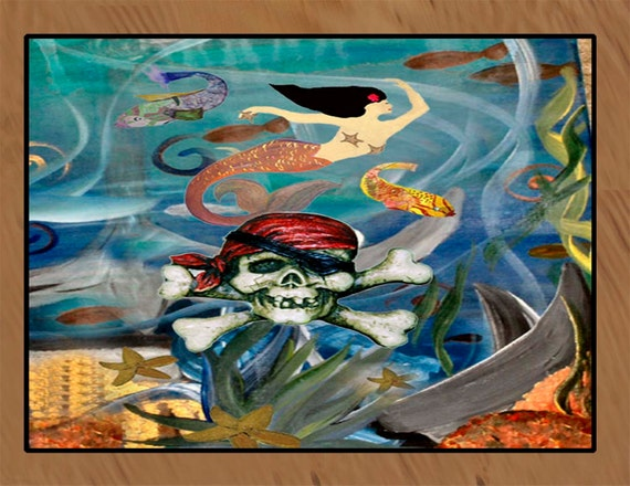 pirate mermaid under the sea floor mat art area rug. Black Bedroom Furniture Sets. Home Design Ideas
