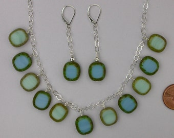 Turquoise Czech Mix Necklace Set