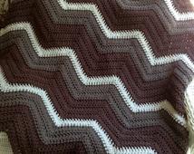 new chevron zig zag ripple baby blanket afghan wrap crochet knit wheelchair stripes VANNA WHITE yarn chocolate brown taupe linen handmade