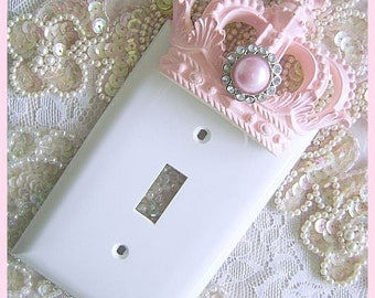 Pink Princess Crown Wall Plate Switch Plate Cover Light