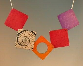 Square Necklace - Polymer and Silver