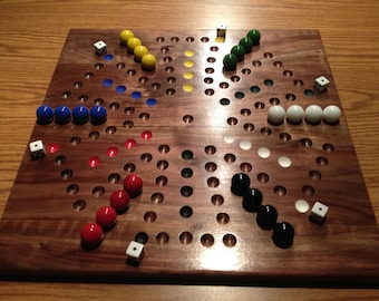 Deluxe SIX Player Solid Walnut Aggravation Game Board