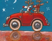 K006 DRIVING HOME - folded christmas art card 15X15CM/6X6inch with envelope