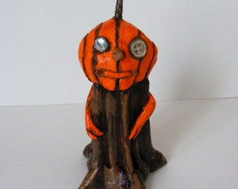 Primitive Folk Art Pumpkin Stem Halloween Art Doll OOAK