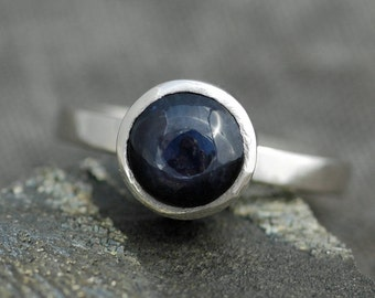 Cornflower Blue Ceylon Star Sapphire in Recycled 14k or 18k Gold Ring- Made to Order
