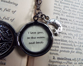 I Love You to the Moon & Back - Quote, Moon Charm and Painted Embossed Locket Necklace