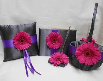 Gerbera Daisy Fuchsia Hot Pink Purple Grey Flower Girl Basket Ring Bearer Pillow Guest Book Pen Pewter Charcoal Your Colors