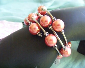 Bright Pearlized Coral Pink Glass Beads Memory Wire Bracelet with Silver Spacer Beads
