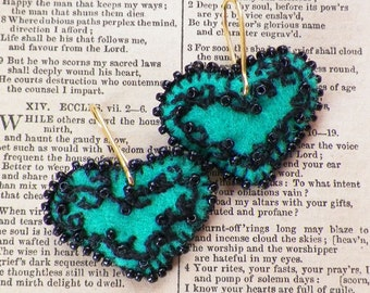 Handmade Hearts / Heart Shaped Lace / Lacy Looking Black Embroidery on Emerald Green Felt Pierced Earrings, Black Beads / Beaded