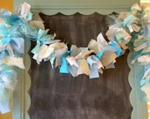 Blue and White Fabric Garland, 6 foot banner for Ice Princess party, Snowflake Party Decoration, Handmade Reusable Fabric Pennant Room Decor