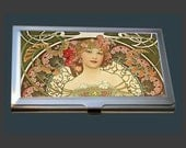 Business Card Case - Champagne Printer Publisher by Alphonse Mucha
