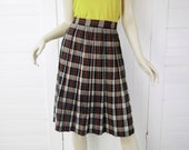 60's Pleated Skirt in Tartan Plaid Wool- Black, Gray, Burnt Orange- Small- 1960's Pin Up Library