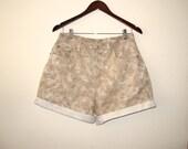Tan Brown Paisley Denim Shorts Cut Off Roll Up Bill Blass Jeans W 29 30, Cut Offs Jean High Waisted Shorts Vintage 12