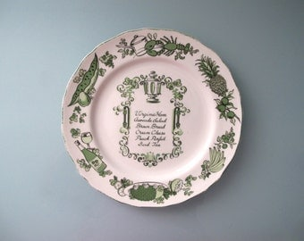Nelson Lebo Gourmet Mid Century Decorative Dinner Plate 10.25 inch Green Virginia Ham Transferware Collectible Menu Platter