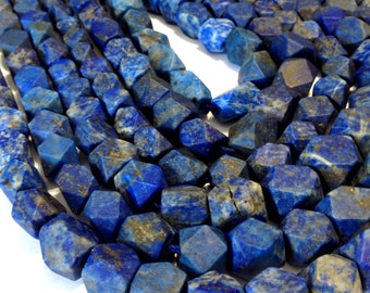 "Lapis notched cube beads WHOLE 17"" STRAND matte finish 100% natural Afghani stones"