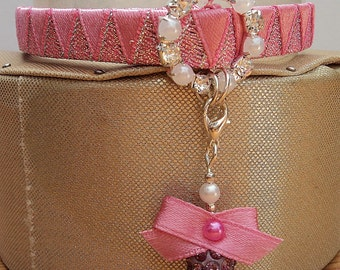 Designer Cat Collar Pink with Diamante style buckle and pretty charm