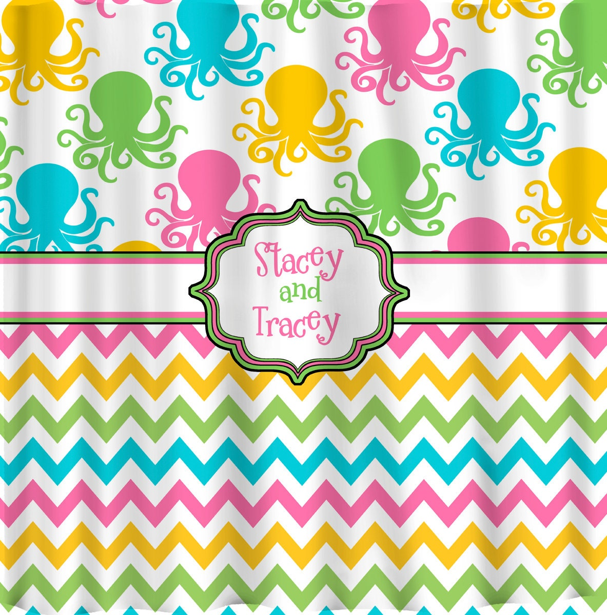 Multi Color Octopus And Chevron Shower Curtain Hot By Redbeauty